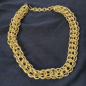 Three Dimensional Gold-Tone Circle Link Necklace